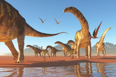 dinosaur: Argentinosaurus Herd - Dos Deinocherius mueven junto con una manada de dinosaurios Agentinosaurus comer los insectos y peque�os animales que se agitan Foto de archivo