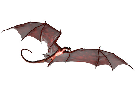 lizard: Blood Red Dragon - A creature of myth and fantasy the dragon is a fierce flying monster with horns and large teeth