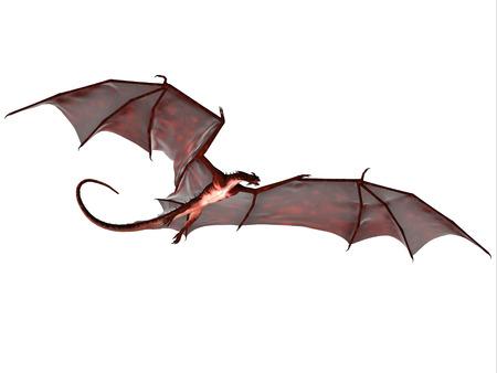 lagarto: Blood Red Dragon - Una criatura de mito y fantas�a del drag�n es un monstruo volador feroz con los cuernos y grandes dientes