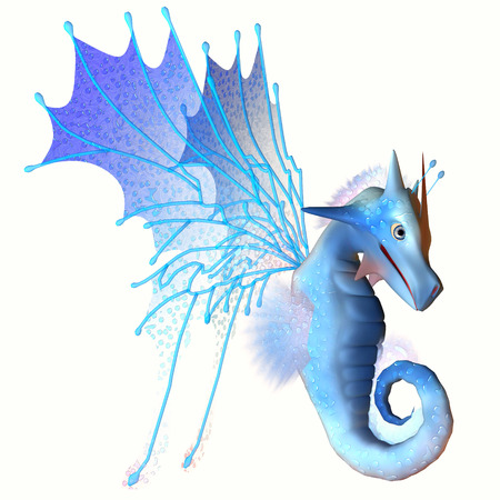 faerie: Blue Faerie Dragon - A creature of myth and fantasy the dragon is a friendly animal with horns and wings
