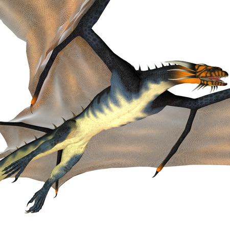 flying dragon: Blue Wasp Dragon Reign - A creature of myth and fantasy the dragon is a fierce flying monster with horns and large teeth  Stock Photo