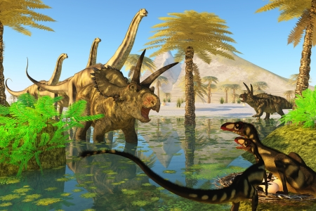 cretaceous: Cretaceous Swamp - Two Dilong dinosaurs guard their nest when a Coahuilaceratops dinosaur comes over to investigate  Stock Photo