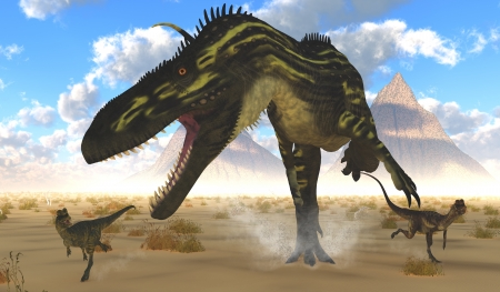 carnivorous animals: Dinosaur Hunting Ground - Two Dilophosaurus run for their lives with a gigantic Torvosaurus after them