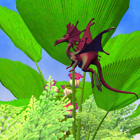 Fury Dragon Flying - A creature of myth and fantasy the faerie dragon is a friendly animal with horns and wings
