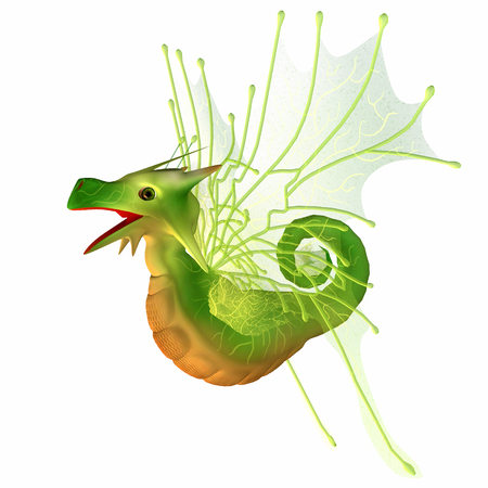 faerie: Green Faerie Dragon - A creature of myth and fantasy the dragon is a friendly animal with horns and wings