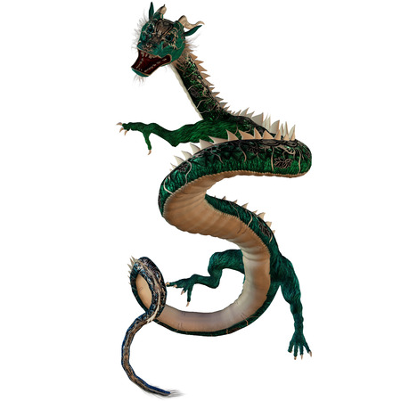 Green Jewel Dragon - A creature of myth and fantasy the dragon is a fierce monster with horns and large teeth