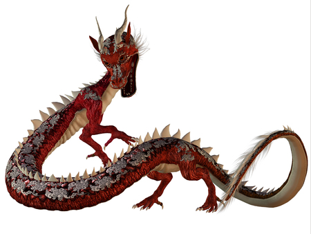 dragon fire: Red Jewel Dragon - A creature of myth and fantasy the dragon is a fierce monster with horns and large teeth