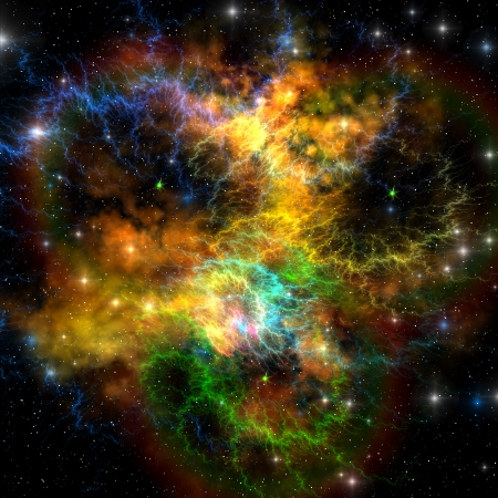 Ribbon Nebula - Multi-colored ribbons and gaseous clouds make up this nebula in the cosmos
