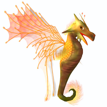 faerie: Yellow Faerie Dragon - A creature of myth and fantasy the dragon is a friendly animal with horns and wings  Stock Photo