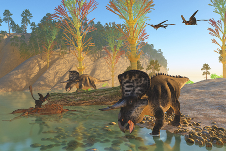 behemoth: Zuniceratops River - Two Microraptor birds fly in to join another sitting on an old skeleton as Zuniceratops dinosaurs come down to the river for a drink