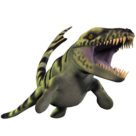 discovered: Dakosaurus over White - Dakosaurus was discovered in Argentina  It is unique among the family of marine crocodylians with its short snout  which is why it was nicknamed  Godzilla    It lived during the Late Jurassic - Early Cretaceous