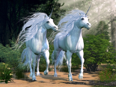 mystical forest: Enchanted Forest - Two buck unicorns run together through a beautiful magical forest  Stock Photo