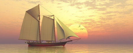 clipper: Light of the Sun - Sunset captures a sailing schooner as she passes the large sun  Stock Photo
