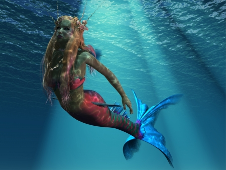underwater fishes: Mermaid of the Ocean - The sea holds many beautiful creatures including this gorgeous mermaid