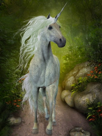 White Unicorn - A beautiful white Unicorn trots down a forest path looking for companions  photo