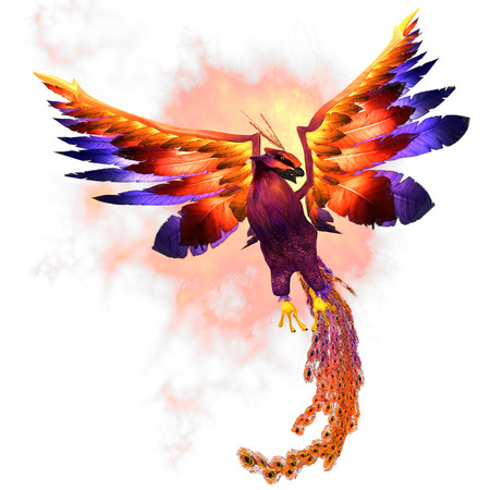 Phoenix Rising - The Phoenix firebird is a mythical symbol of regeneration or renewal of life 版權商用圖片 - 23905115