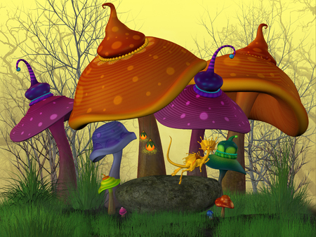envisioning: Magical Mushrooms - A fairytale land with funny colored mushrooms and golden dragons