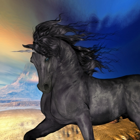 horsepower: Black Buck Unicorn - A beautiful black unicorn prances with its wild mane flowing and muscles shining