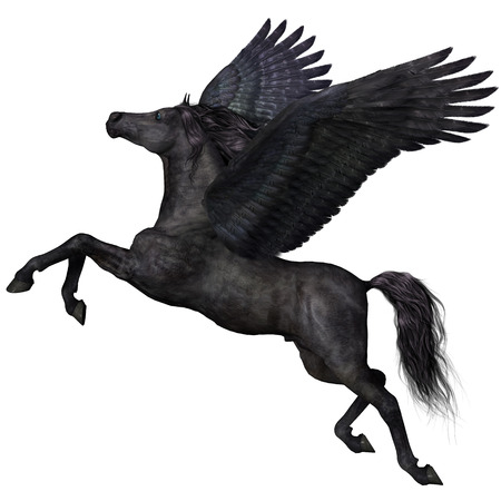 brute: Black Pegasus Profile - A magical black Pegasus spreads its wings and flies up into the sky  Stock Photo