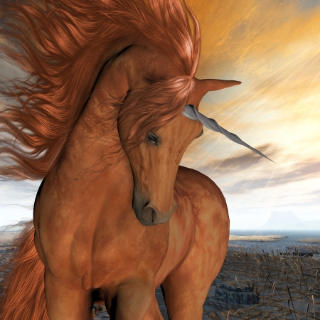 steed: Burnt Sky Unicorn - A beautiful chestnut unicorn prances with its wild mane flowing and muscles shining  Stock Photo