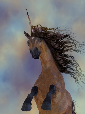 brute: Chestnut Unicorn - A beautiful chestnut unicorn prances with its wild mane flowing and muscles shining  Stock Photo
