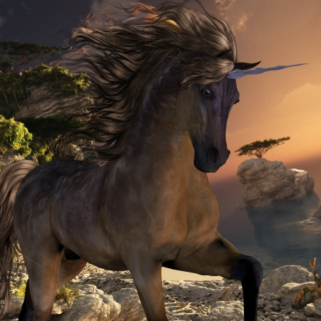 creature of fantasy: Grulla Buck Unicorn - A beautiful grulla colored unicorn prances with its wild mane flowing and muscles shining  Stock Photo