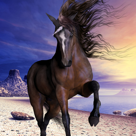 Mahogony Bay Unicorn - A beautiful unicorn prances with its wild mane flowing and muscles shining  photo