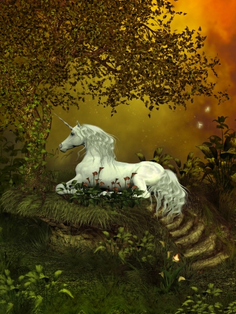 Mystical Unicorn - A beautiful white unicorn lays underneath a forest tree to rest among the flowers  photo