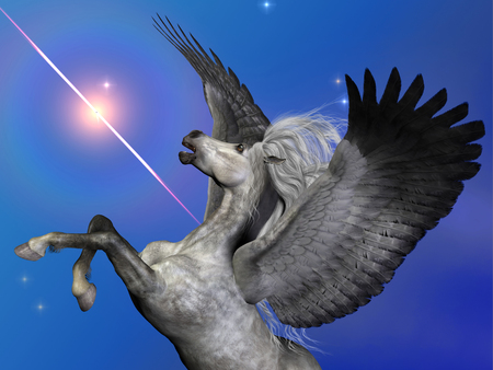 Starburst Pegasus - Pegasus is a flying winged horse of ancient myth and folklore passed down through the centuries