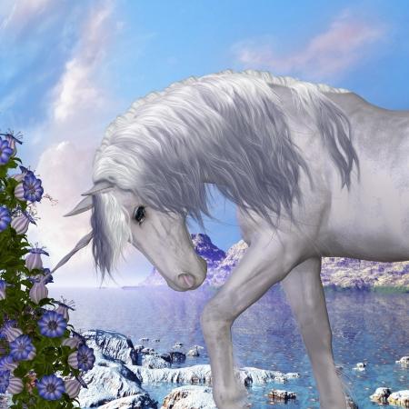 美しい白いユニコーン prances とその野生の鬣を流れる筋肉輝くユニコーンと鐘の青い花-