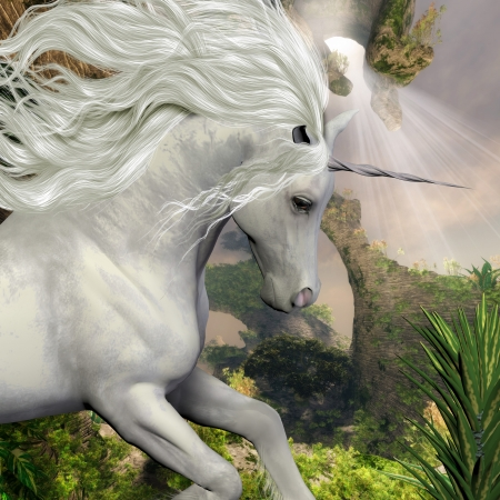 Unicorn and Yucca Plant - A beautiful white unicorn prances with its wild mane flowing and muscles shining