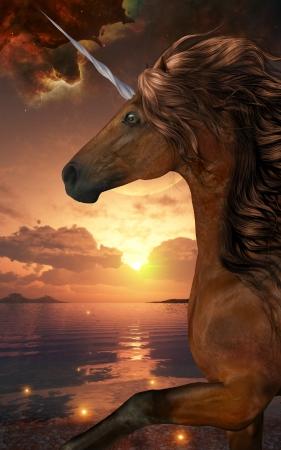 Unicorn Stargazer - A beautiful chestnut unicorn prances with its wild mane flowing and muscles shining  Фото со стока