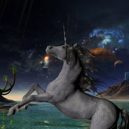 horsepower: Unicorn Universe - A beautiful silver unicorn prances with its wild mane flowing and muscles shining  Stock Photo