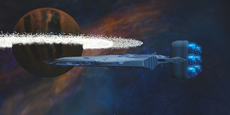 starship: A star-ship passes by a planet with a ring of asteroids on its journey to a nearby nebula