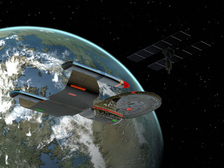 spaceport: A space vehicle stays near the space station in orbit around the Earth