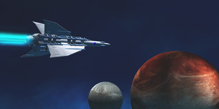 exploratory: A star-ship from Earth travels to a red planet to begin an exploratory expedition