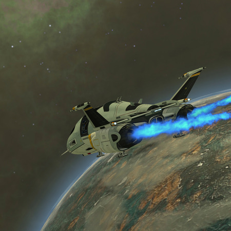 A shuttle from Earth comes in for a landing on an alien planet  写真素材