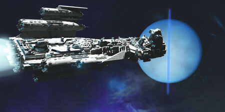 Spaceship to Neptune - A exploratory spaceship from Earth comes to investigate the planet of Neptune and its ring system