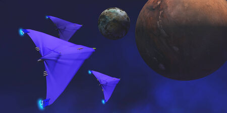 Three spaceships fly through space to investigate an alien planet and its moon