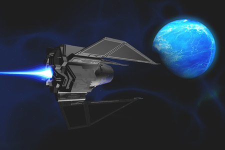 reaches: A small spacecraft from Earth reaches a water planet
