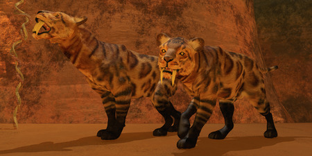 Saber-Toothed Tiger Cave - Two Smilodon cats find protection in a vast cave system in the Eocene Era  photo