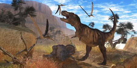 harass: Tyrannosaurus Meeting - A Tyrannosaurus Rex dinosaur tries to eat his Triceratops kill when Pteranodons harass him