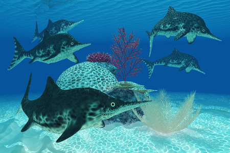 triassic: Ichthyosaurus Dinosaurs - Ichthyosaurus was a large marine reptile carnivore from the Triassic and Jurassic Eras  Stock Photo