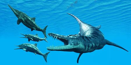 Liopleurodon 攻撃魚竜化石 - Liopleurodon だったジュラ紀海で狩りを魚竜化石の恐竜は巨大な海洋爬虫類