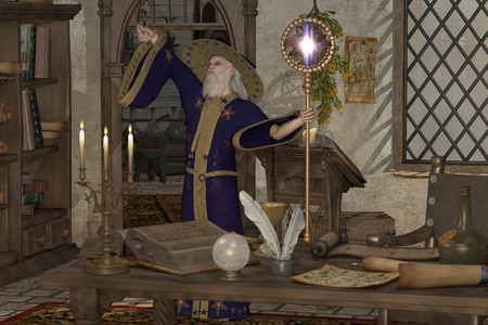 spellbinder: Magic Sorcerer - A wizard in his library casts a spell with his magic wand and staff  Stock Photo