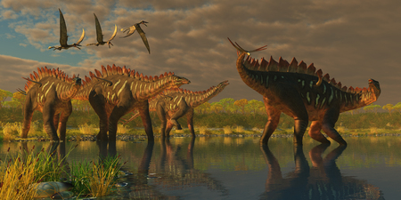 herbivorous: Miragaia Dinosaurs - A Miragaia dinosaur bellows in protest as three others try to join him in marsh as three Dorygnathus pterosaurs fly over