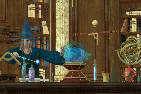 Sorcerer Magician - A magician casts a spell with his wand and crystal ball in his library and laboratory