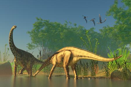 sauropod: Spinophorosaurus en el Pantano - Spinophorosaurus fue uno de los dinosaurios que habitaron tit�nicas pantanos de la Era Jur�sica Foto de archivo