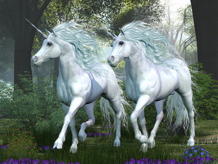 Unicorn Elm Forest - Two white unicorns prance through an elm tree forest full of spring flowers  Banque d'images