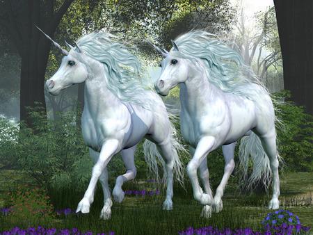 Unicornio Elm Forest - dos unicornios blancos prance a través de un bosque de árboles de olmo lleno de flores de primavera